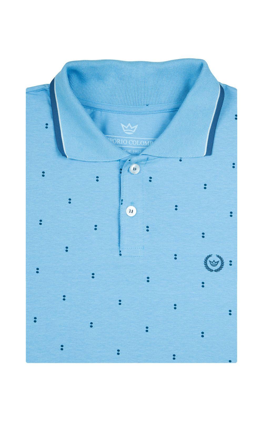 Foto 4 - Camisa Polo Masculina Azul Claro Estampada