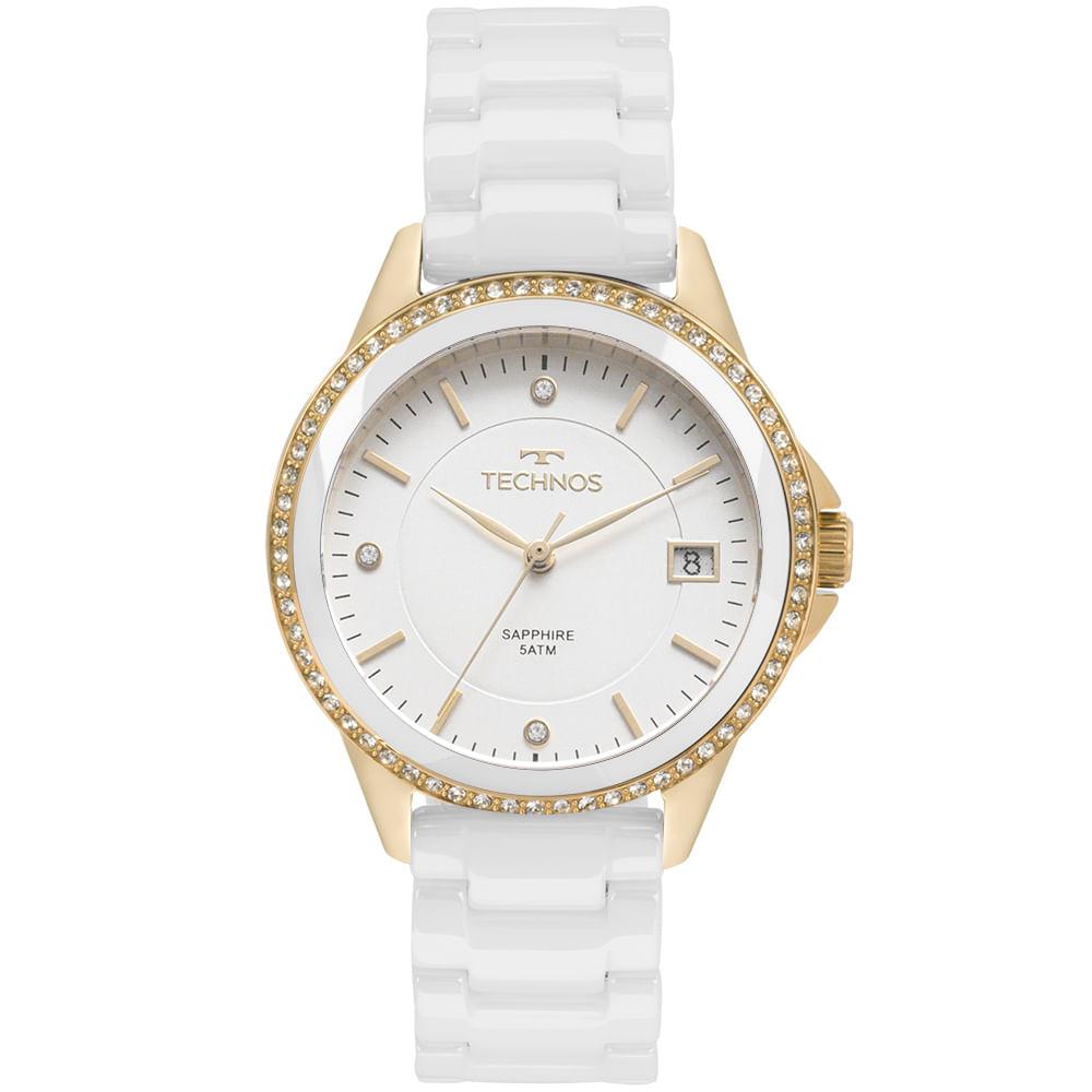 Relógio Technos Feminino Elegance Ceramic Saphire Dourado - 2315KZS ... 03fe1bf057