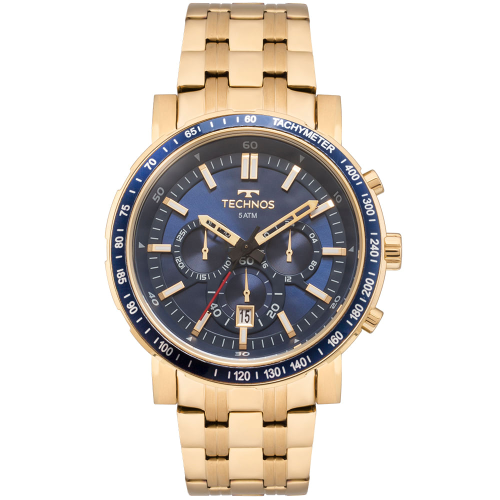 fd4a79f93a08a Relógio Technos Masculino Skymaster Dourado - JS26AJ 4A - Camisaria ...