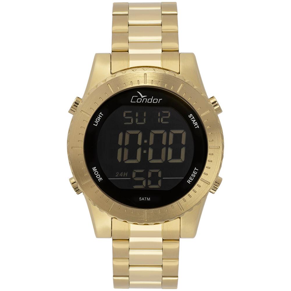 cdf65da4a1f79 Relógio Condor Masculino Casual Digital Dourado COBJ3463AA 4D ...