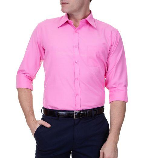 Camisa-Social-Masculina-Lisa-Manga-Longa-Rosa-
