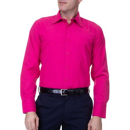 Camisa Social Masculina Lisa Manga Longa Rosa
