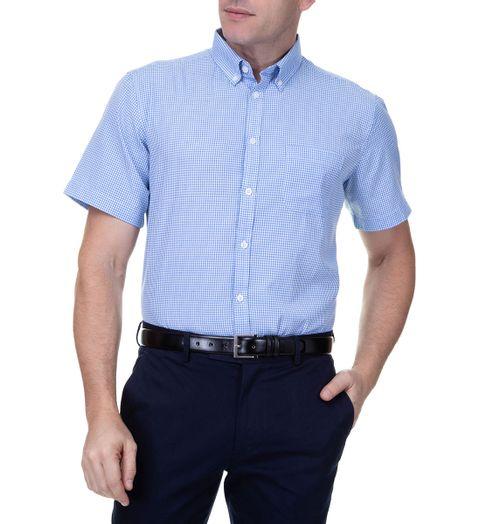 Camisa-Social-Masculina-Manga-Curta-Azul-