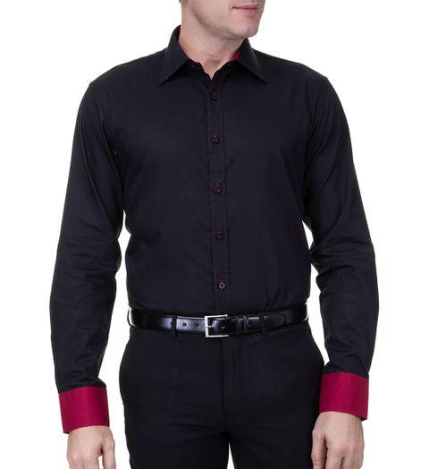 Camisa-Social-Masculina-Manga-Longa-Preta-