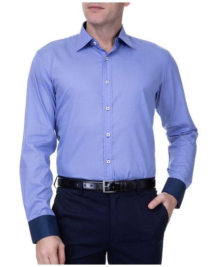 Camisa-Social-Masculina-Manga-Longa-Azul-Escuro-
