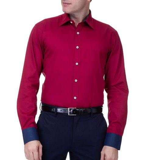 Camisa-Social-Masculina-Manga-Longa-Vermelha-