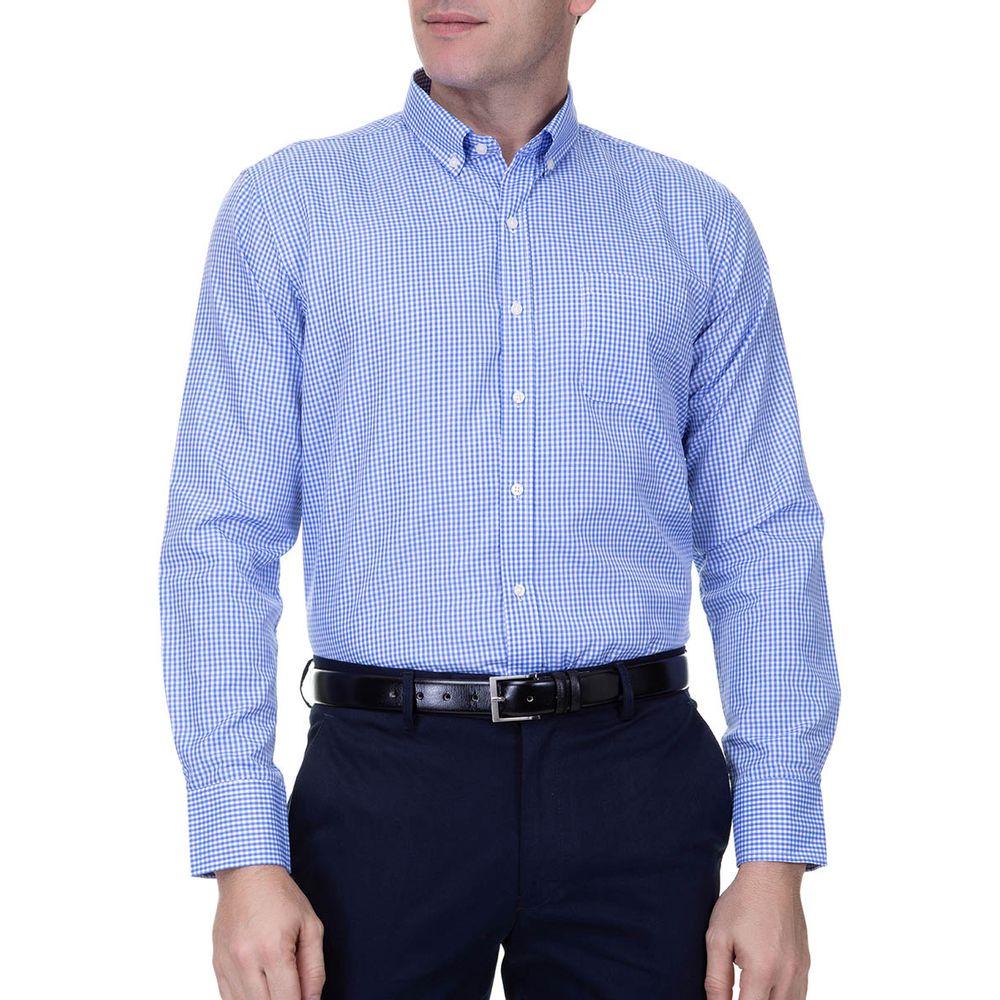 4493ccc94a Camisa Social Masculina Manga Longa Azul - Camisaria Colombo