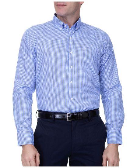 Camisa-Social-Masculina-Manga-Longa-Azul-