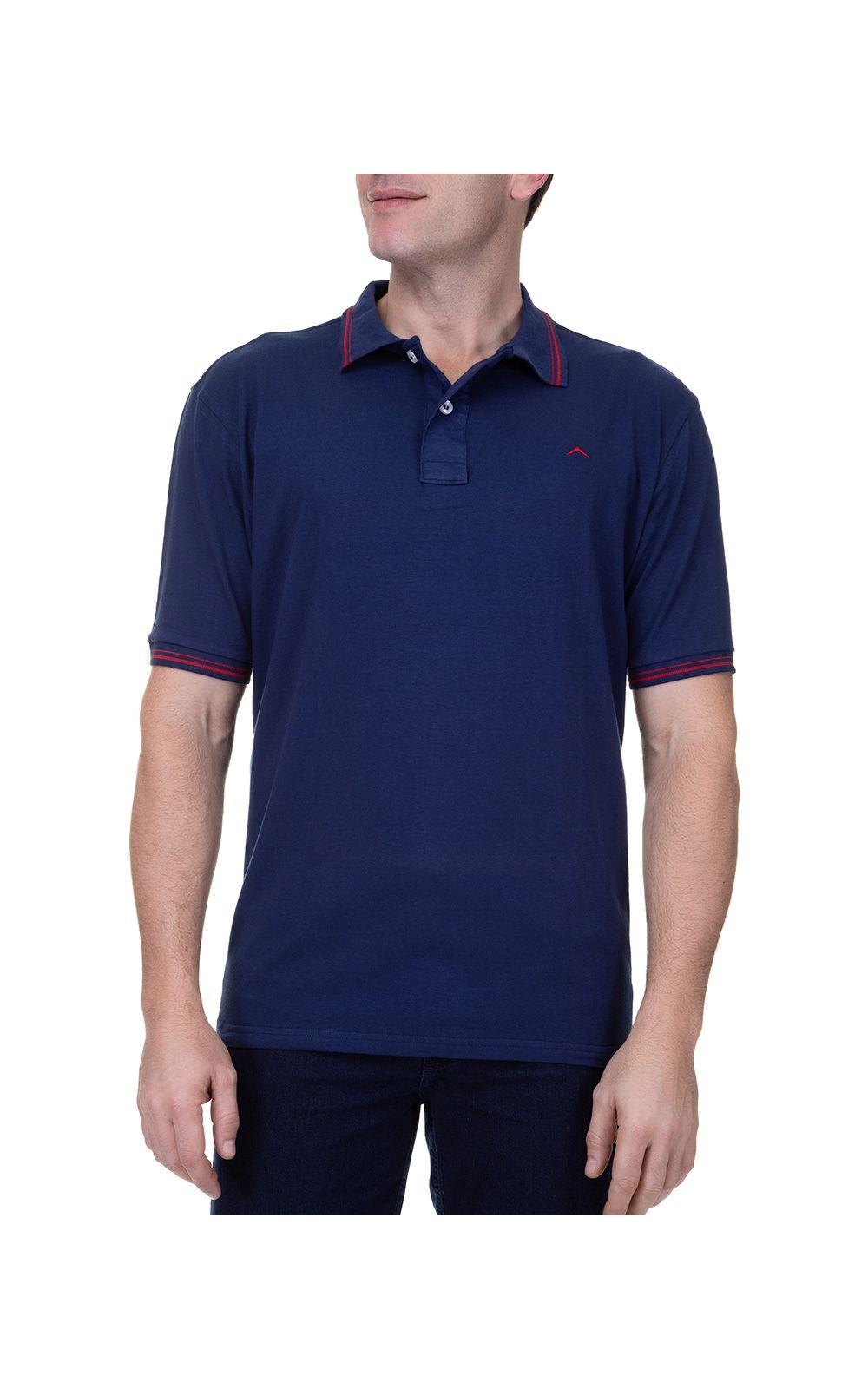 Foto 1 - Camisa Polo Masculina Azul Marinho Detalhada