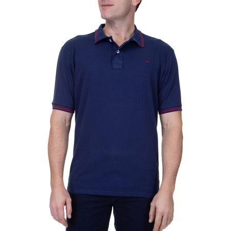 Camisa Polo Masculina Azul Marinho Detalhada