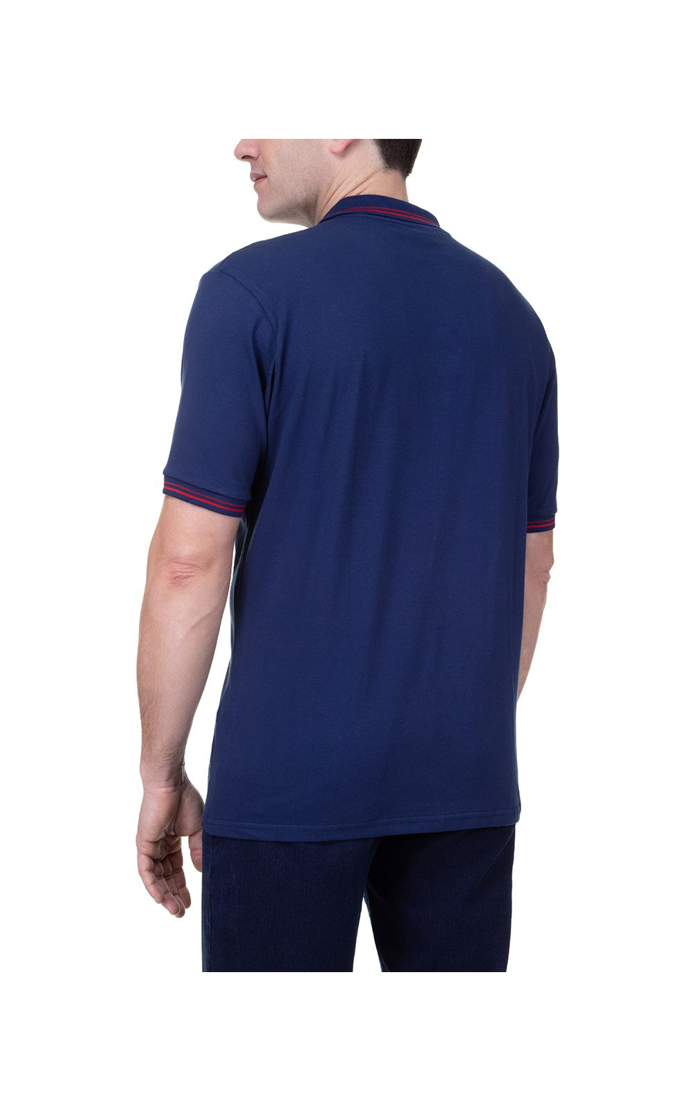 Foto 2 - Camisa Polo Masculina Azul Marinho Detalhada
