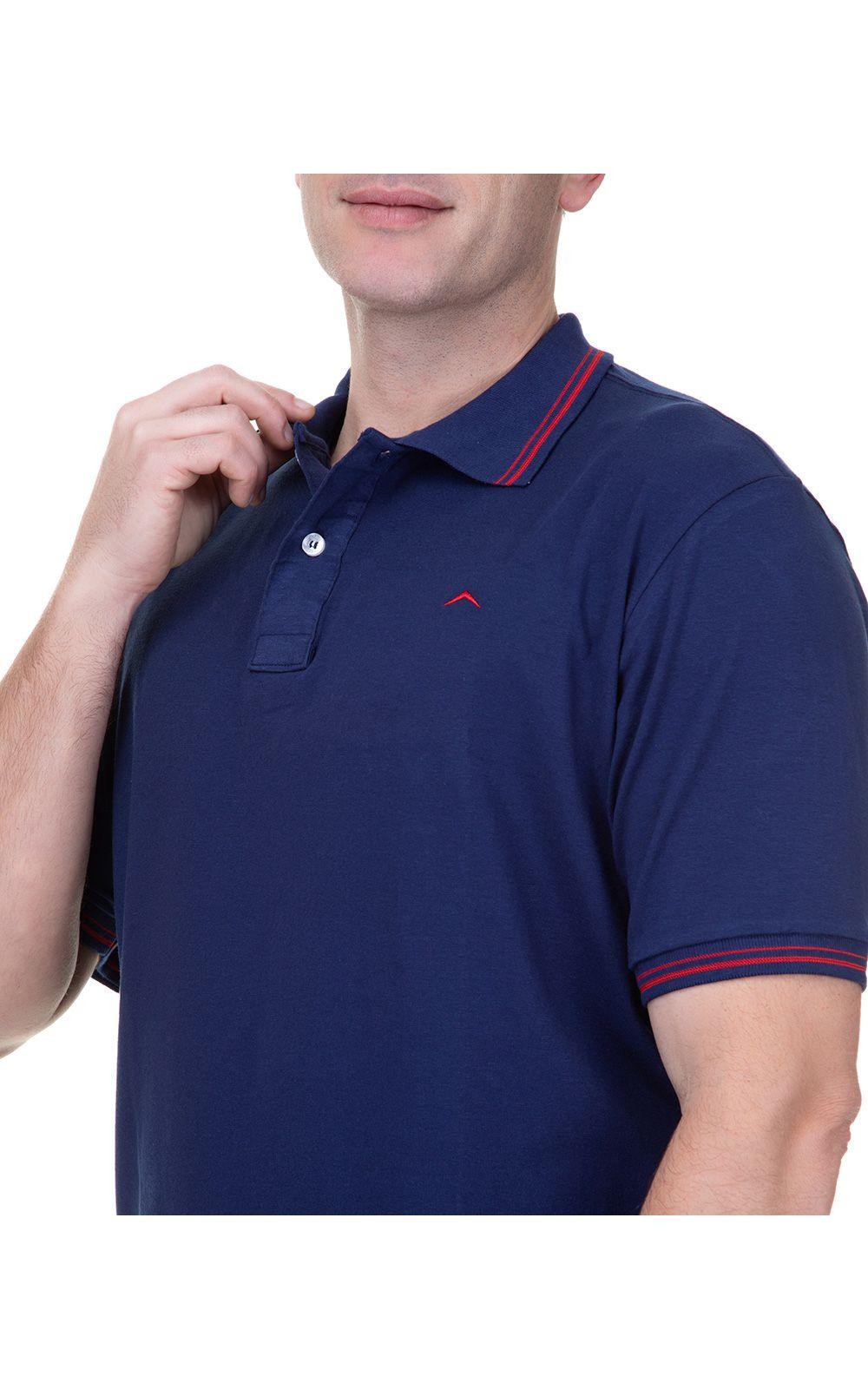 Foto 3 - Camisa Polo Masculina Azul Marinho Detalhada