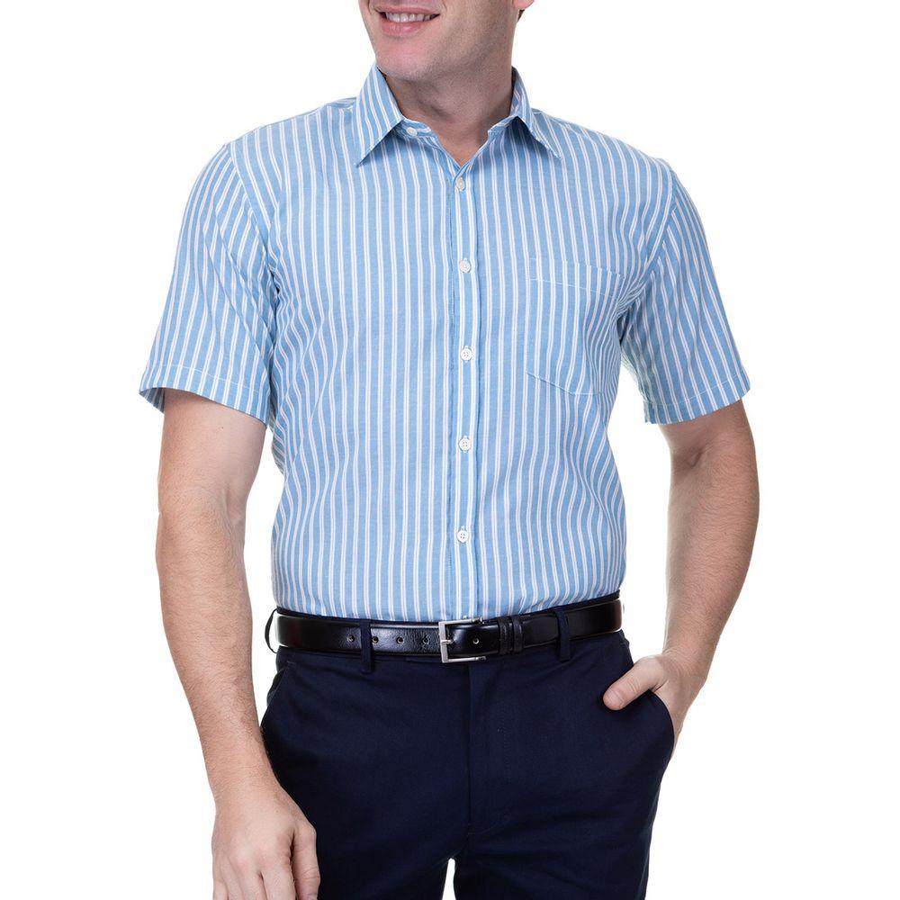 acb0ecc57 PRODUTO ADICIONADO A SACOLA. Camisa Social Masculina Azul Lisa