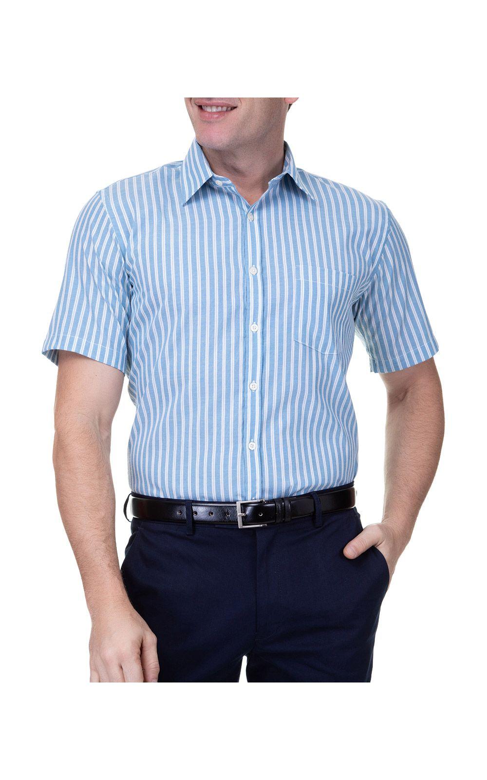 Foto 1 - Camisa Social Masculina Azul Lisa