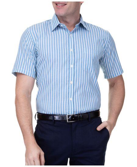 Camisa-Social-Masculina-Manga-Curta-Azul