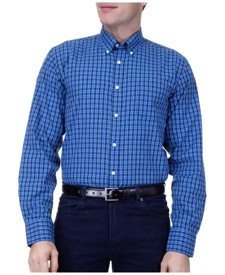 Camisa-Social-Masculina-Manga-Longa-Azul