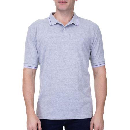 Camisa Polo Masculina Com Detalhe Cinza Mescla