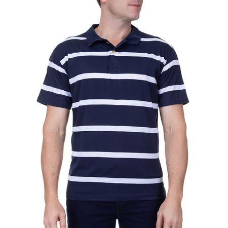 Camisa Polo Masculina Azul Marinho Listrada