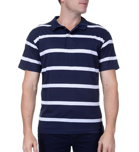2a74215818 Camisa Polo Masculina Azul Marinho Listrada