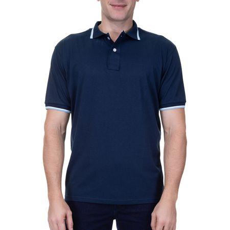 Camisa Polo Masculina Com Detalhe Azul Marinho