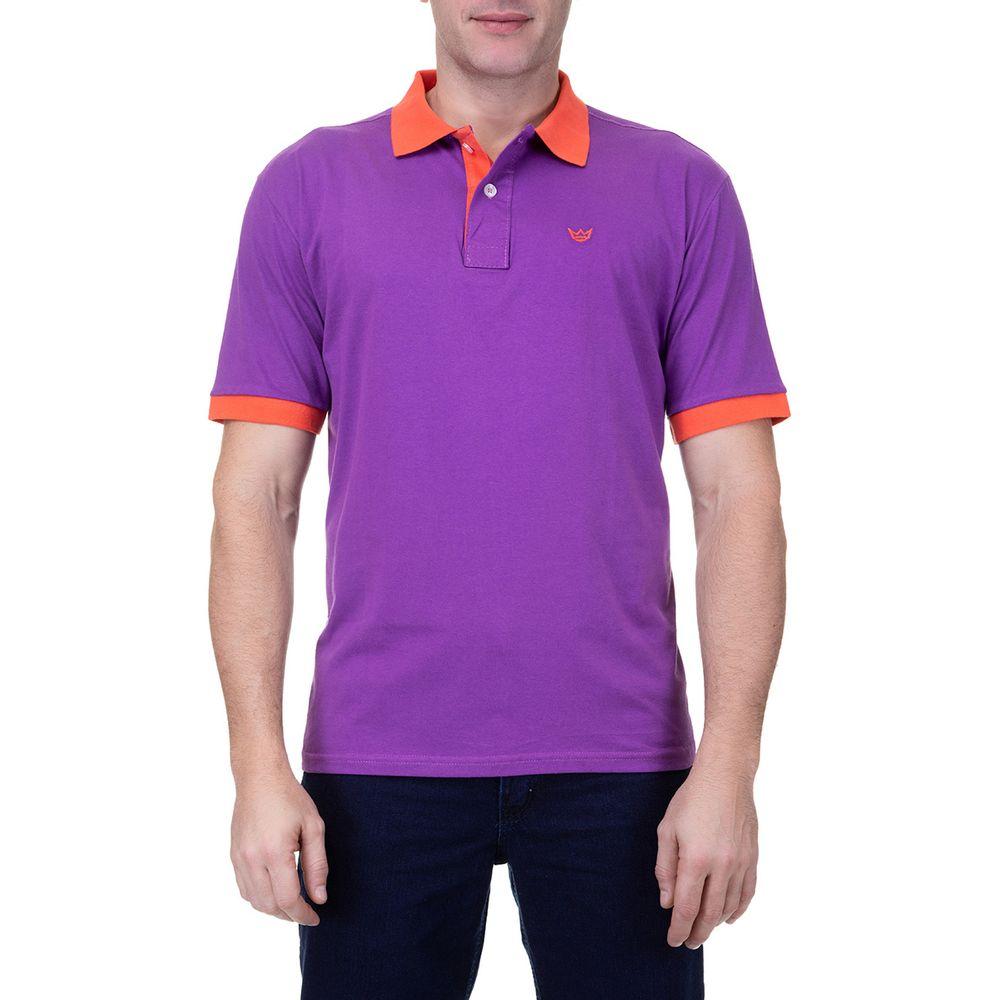 5e441f9eb0c92 Camisa Polo Masculina Roxa Detalhada - Camisaria Colombo
