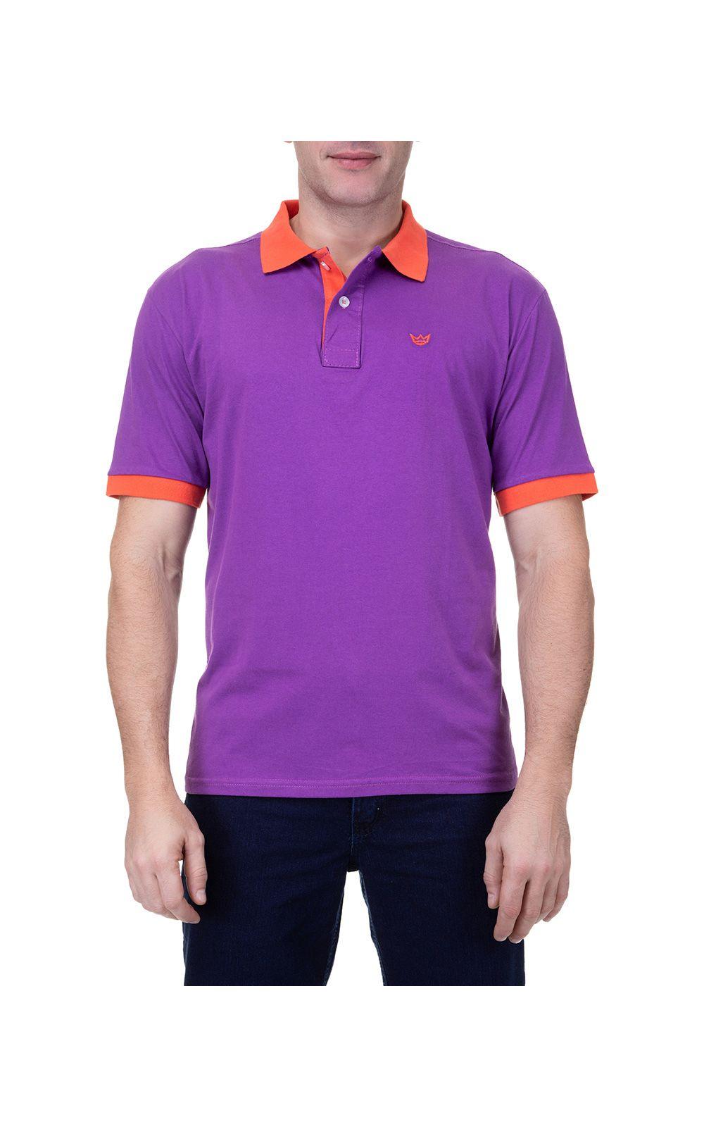 b54e69c72ab8b Camisa Polo Masculina Roxa Detalhada. undefined