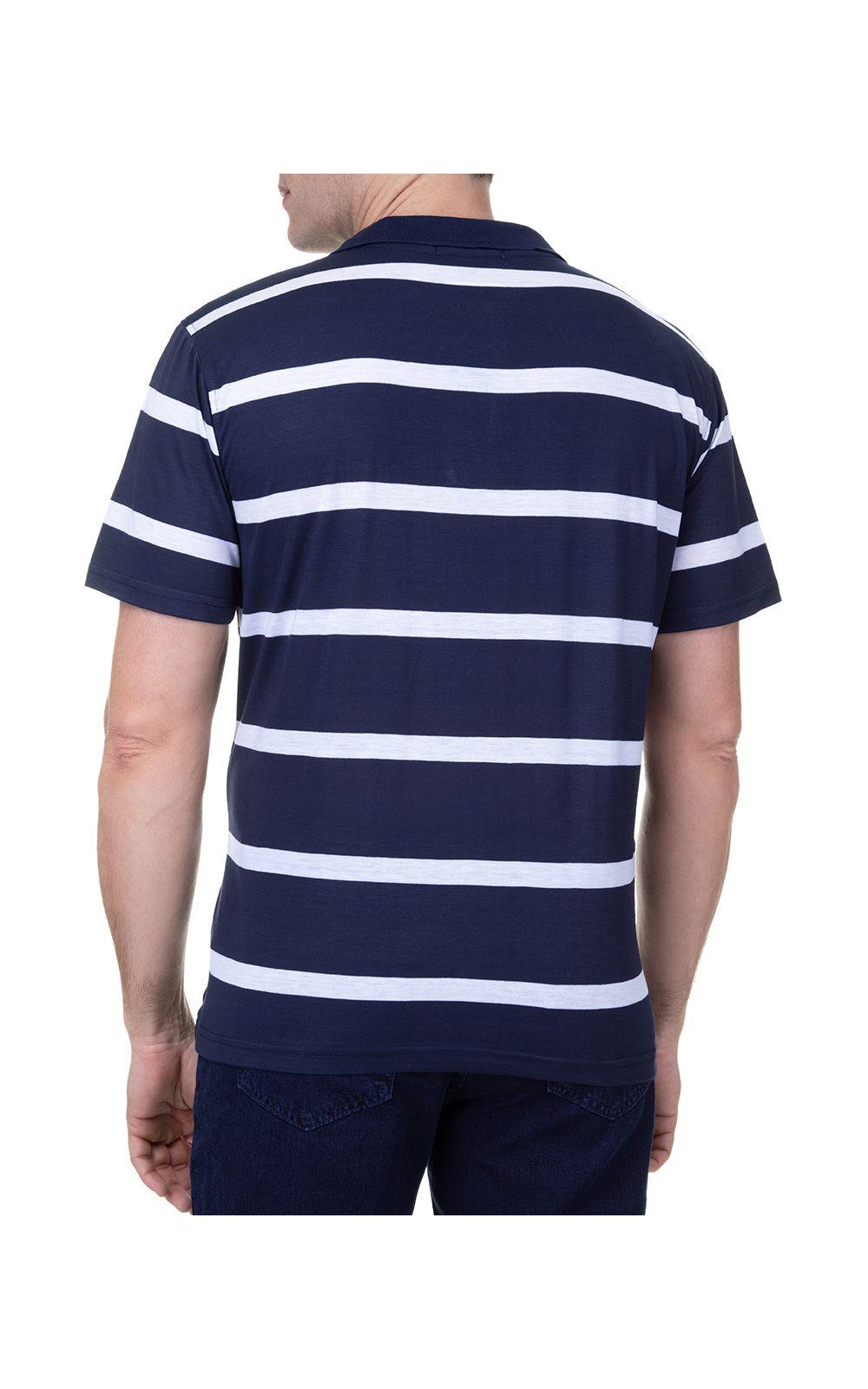 Foto 2 - Camisa Polo Masculina Azul Marinho Listrada