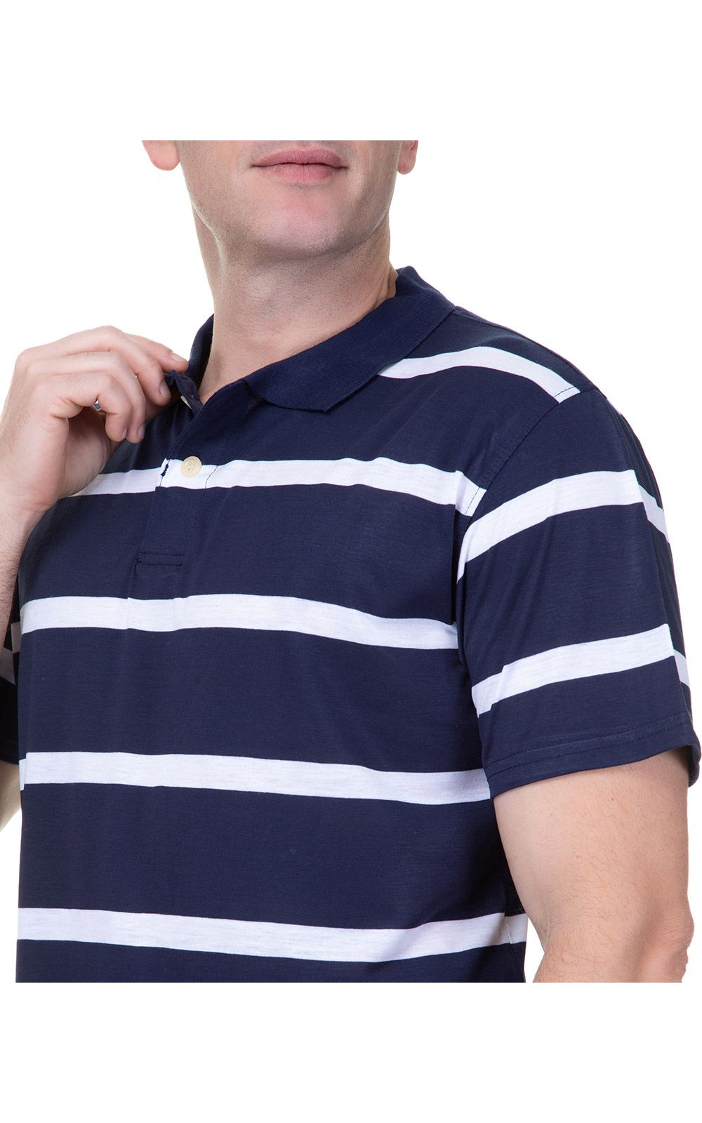 Foto 3 - Camisa Polo Masculina Azul Marinho Listrada
