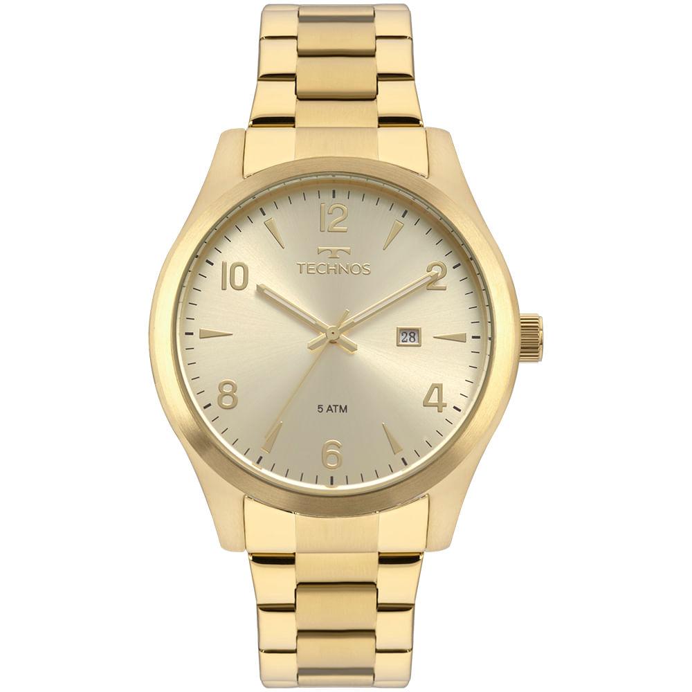 Relógio Technos Masculino Steel Dourado 2115MRC 4X - Camisaria Colombo 631f798dfc