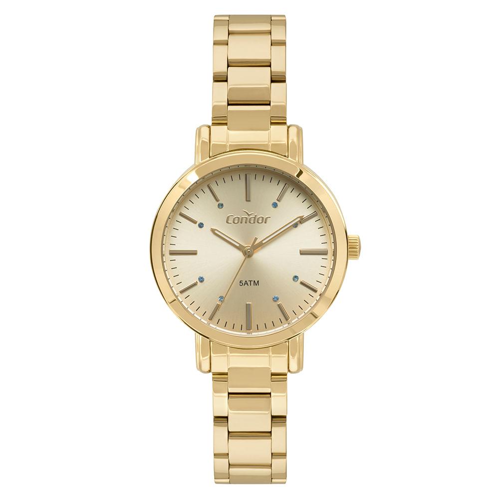e663be2c32a Relógio Condor Feminino Bracelete Dourado CO2035FAK K4X - Camisaria ...