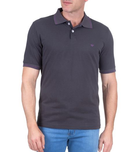d6af2a4918 Camisa Polo Masculina Cinza Escuro Lisa