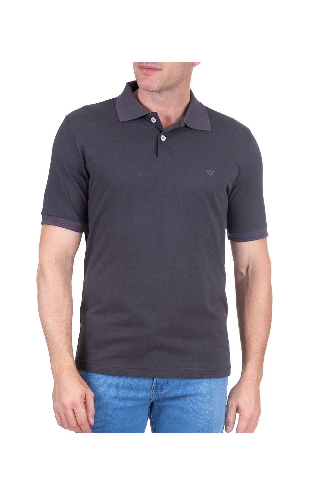 Foto 1 - Camisa Polo Masculina Cinza Escuro Lisa