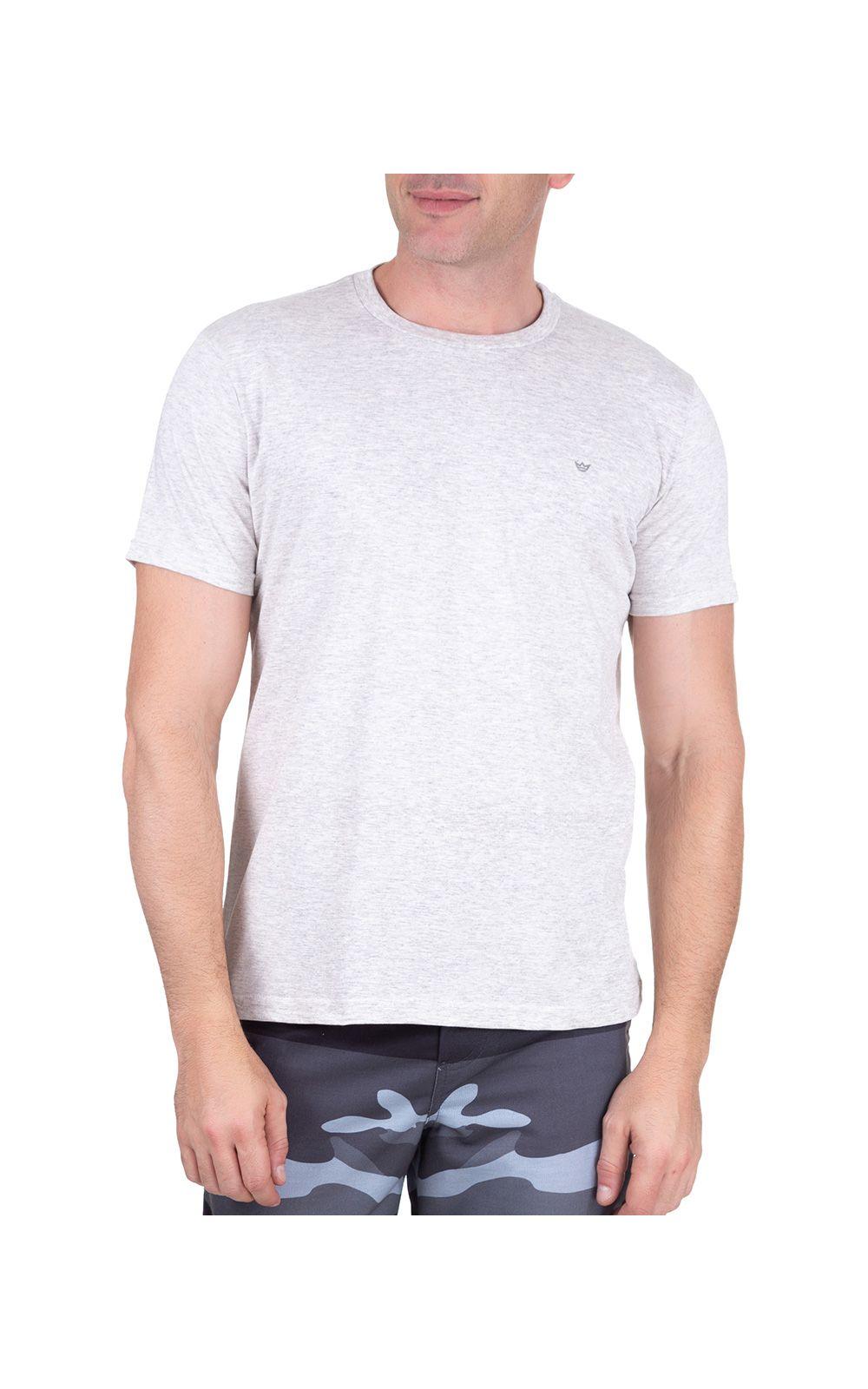 Foto 1 - Camiseta Masculina Cinza Lisa