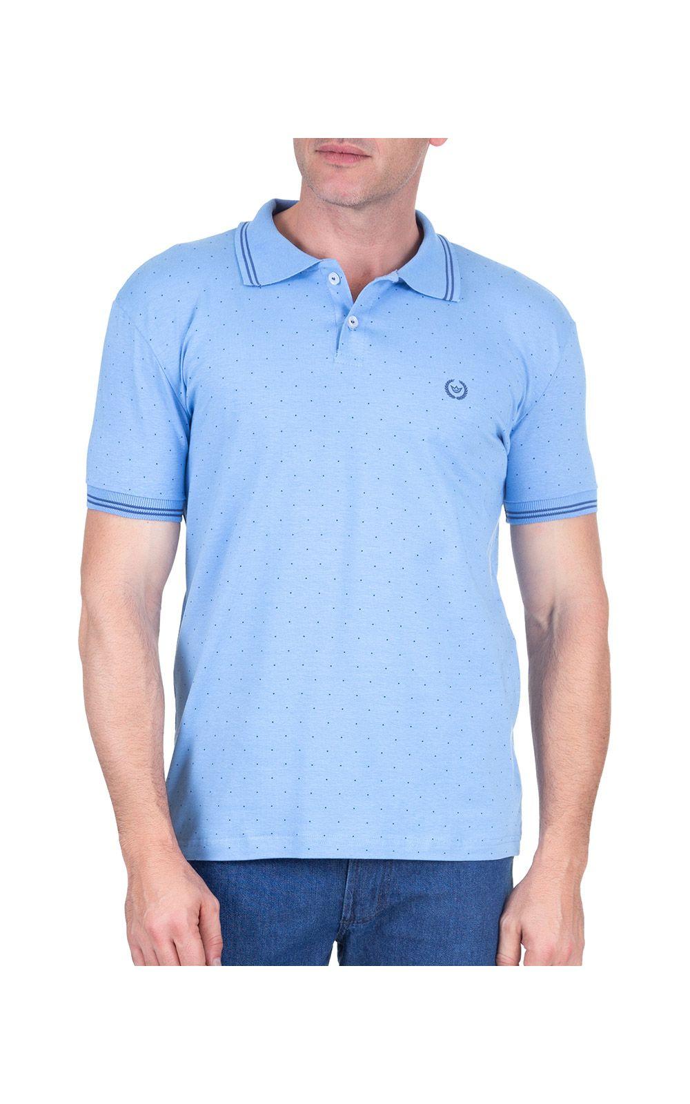 Foto 1 - Camisa Polo Masculina Azul Estampada