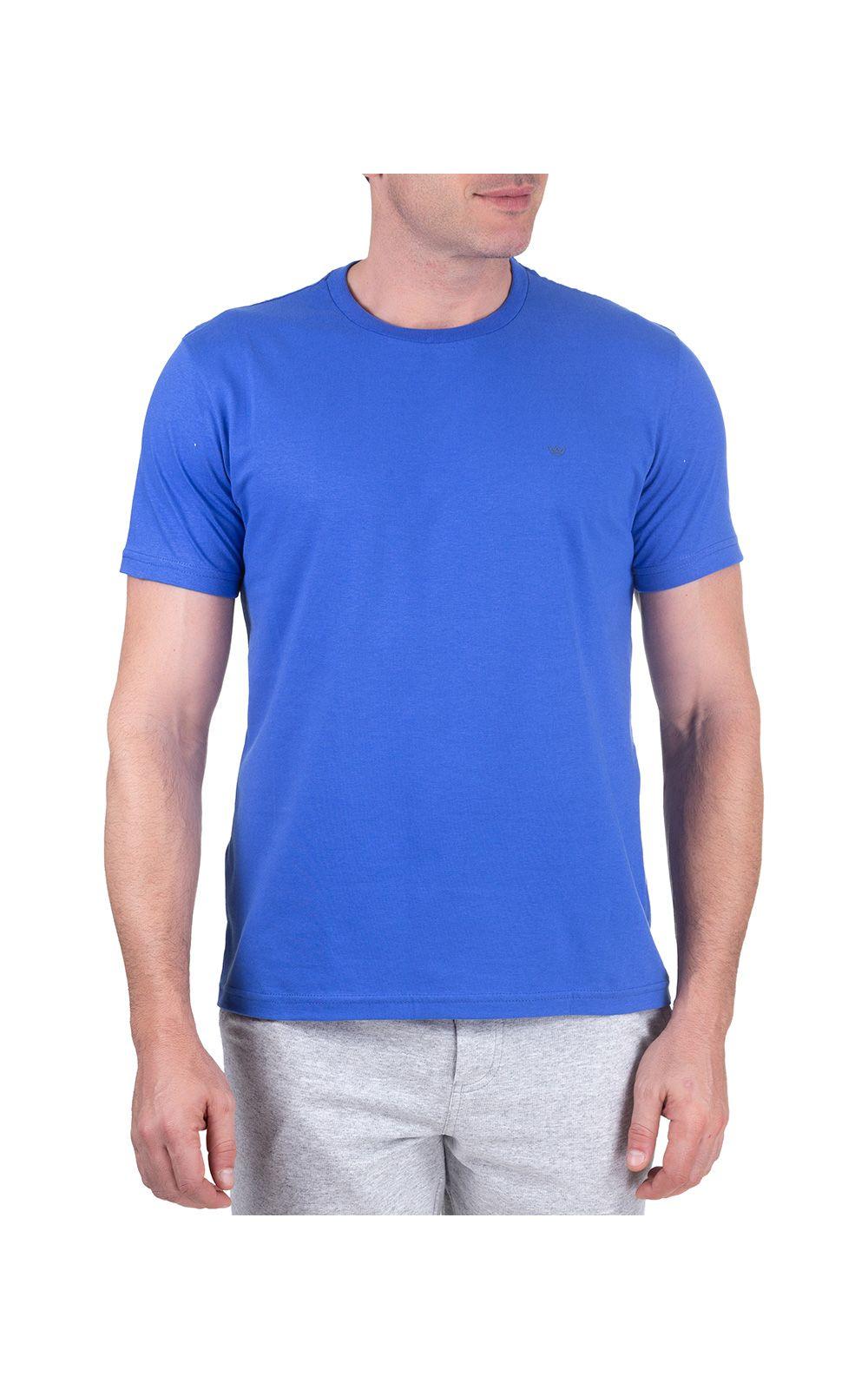 Foto 1 - Camiseta Masculina Azul Lisa