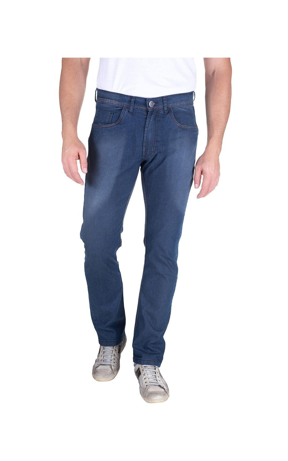 Foto 1 - Calça Jeans Masculina Azul Marinho Lisa
