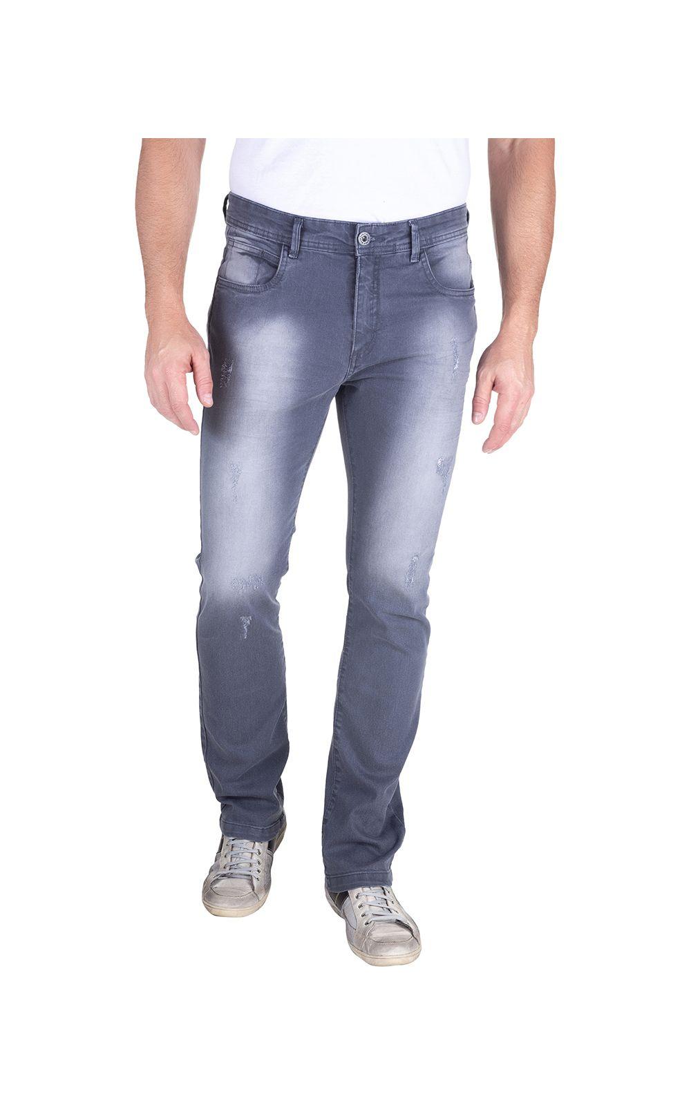 Foto 1 - Calça Jeans Masculina Cinza Lisa