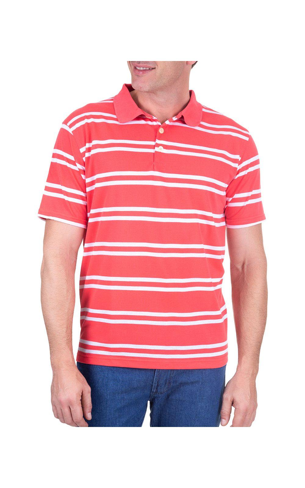 Foto 1 - Camisa Polo Masculina Vermelha Listrada