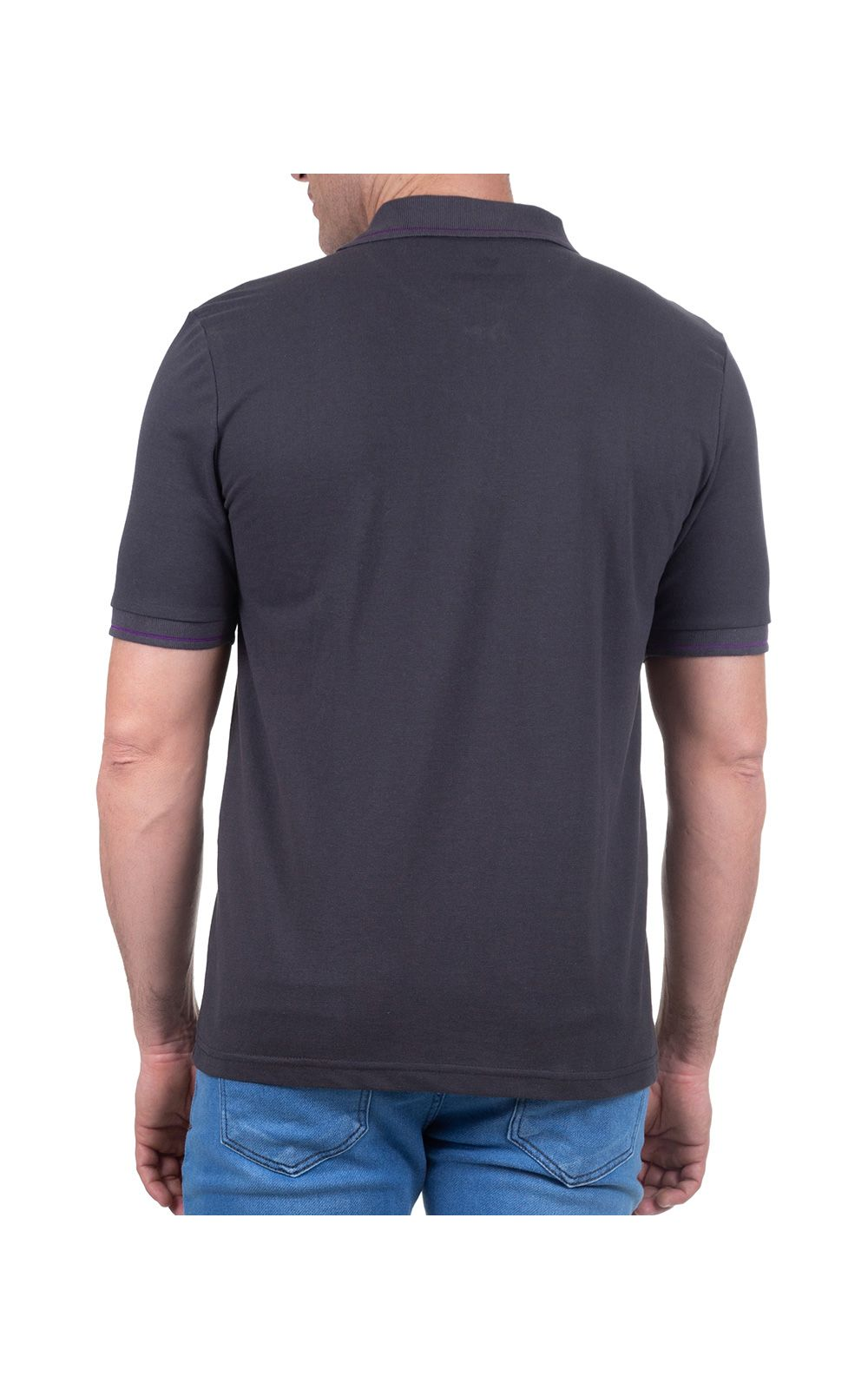 Foto 2 - Camisa Polo Masculina Cinza Escuro Lisa