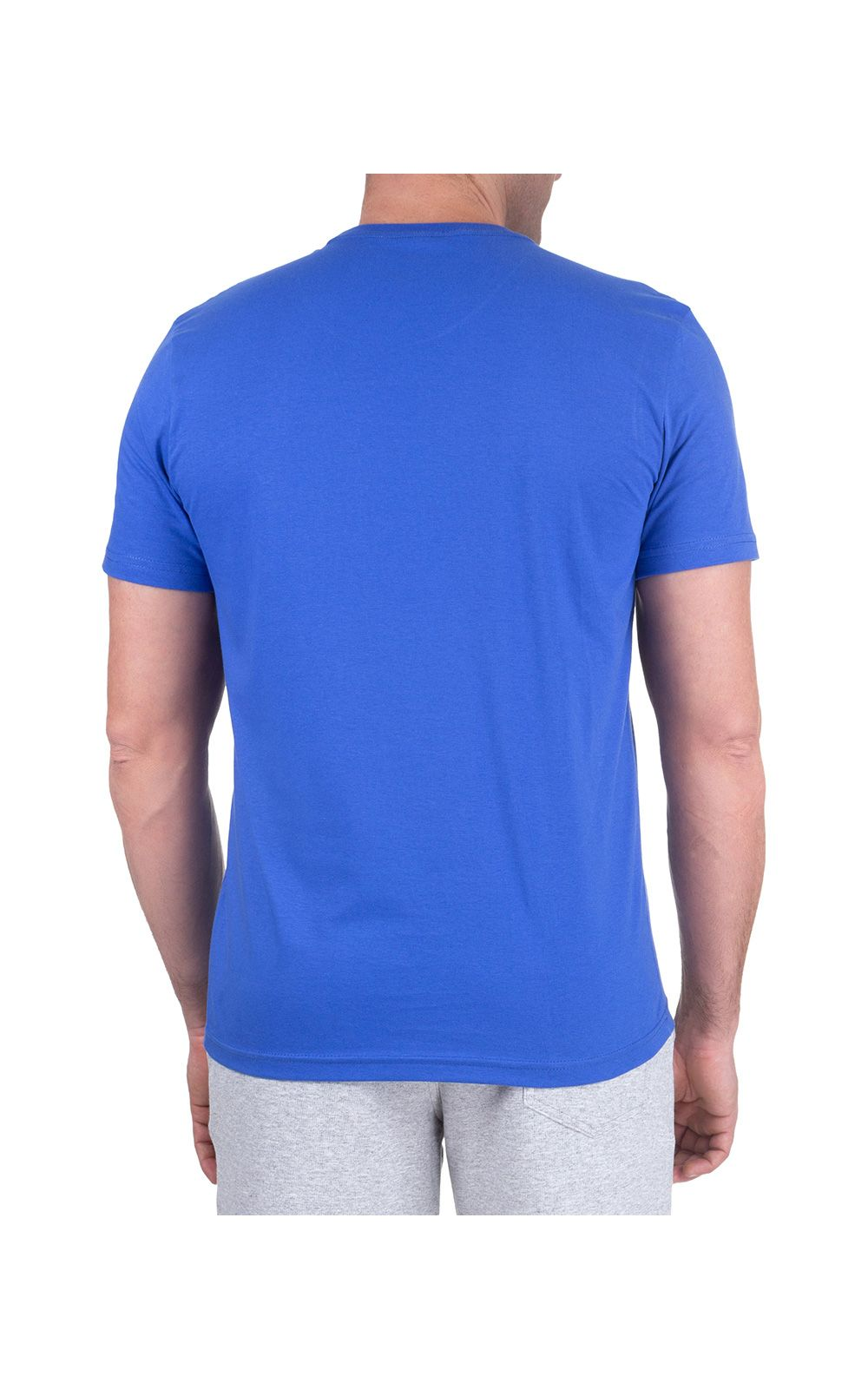 Foto 2 - Camiseta Masculina Azul Lisa