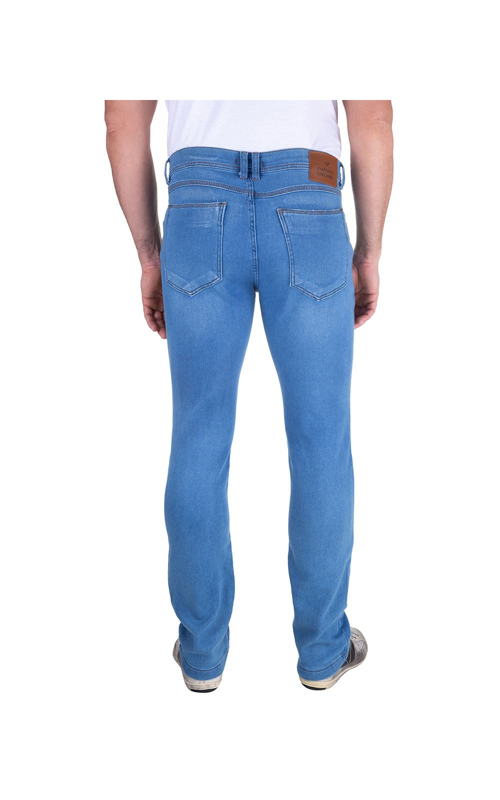 Foto 2 - Calça Jeans Masculina Azul Lisa