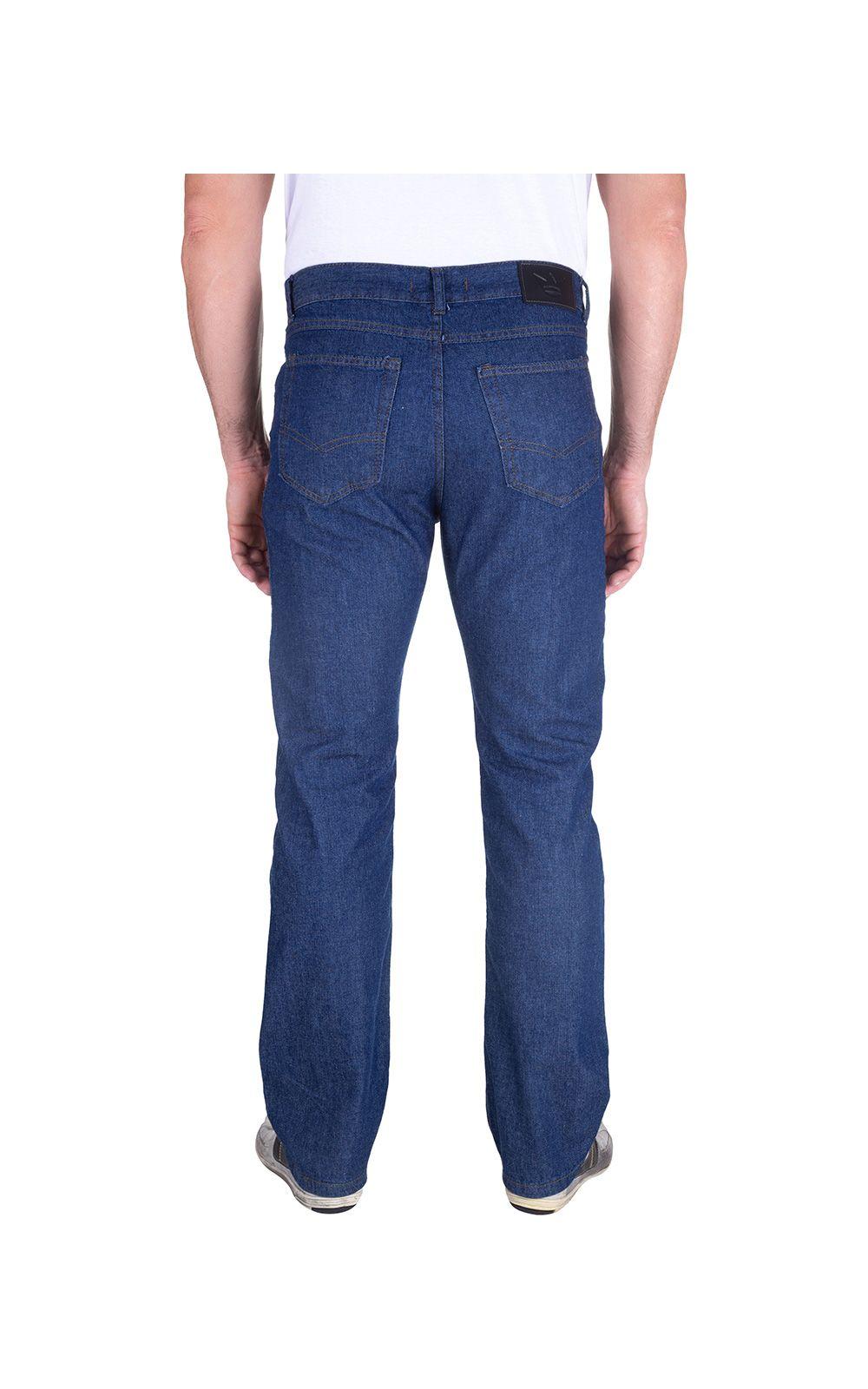 Foto 2 - Calça Jeans Masculina Azul Marinho Lisa