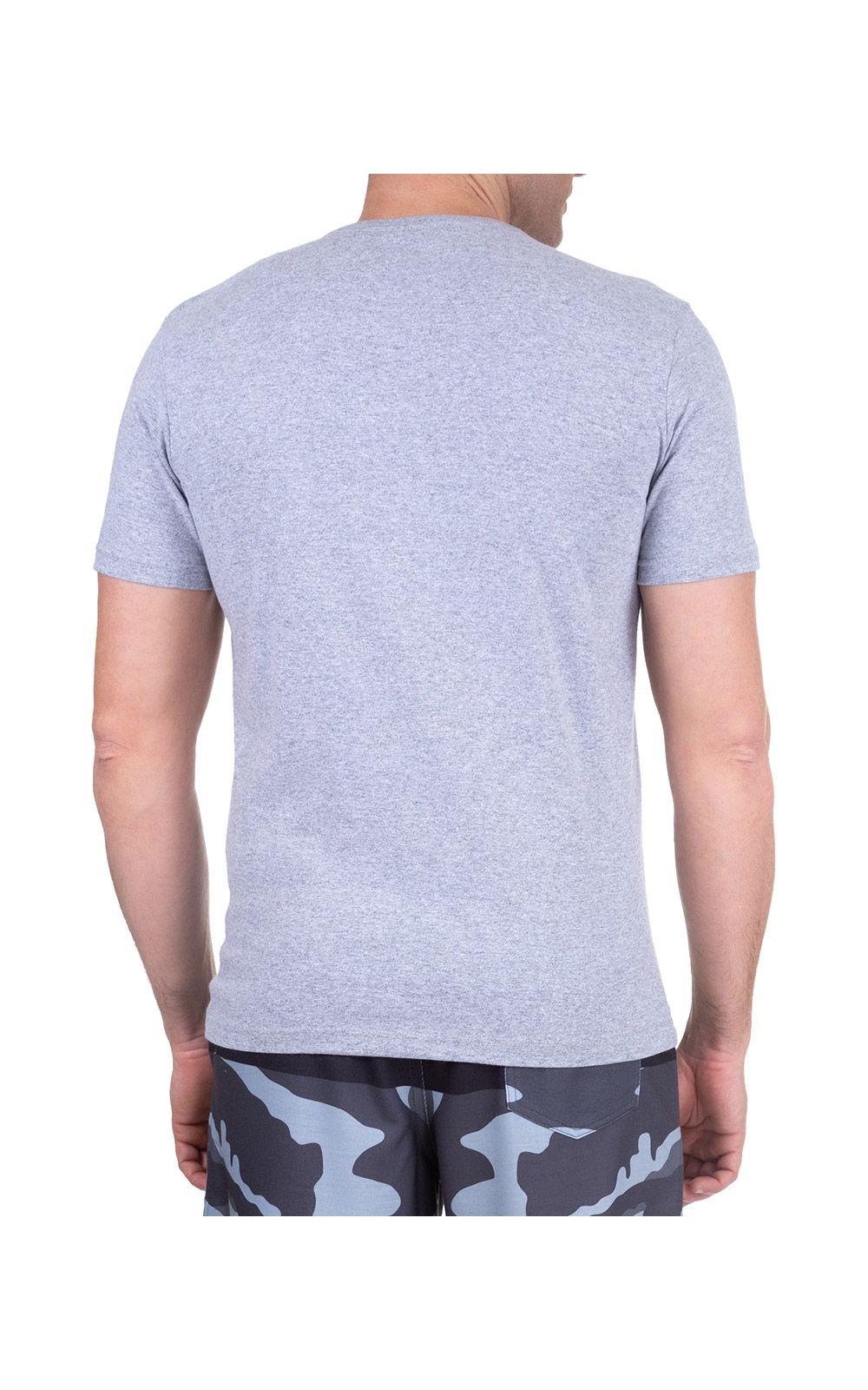 Foto 2 - Camiseta Masculina Cinza Lisa