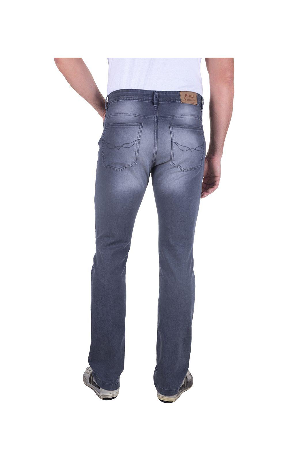 Foto 2 - Calça Jeans Masculina Cinza Lisa