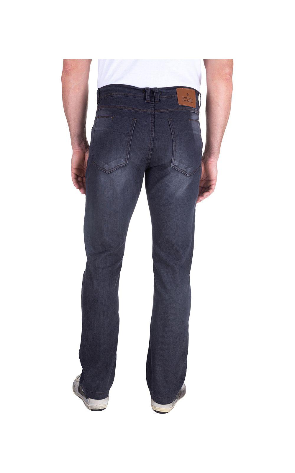 Foto 2 - Calça Jeans Masculina Preta Lisa