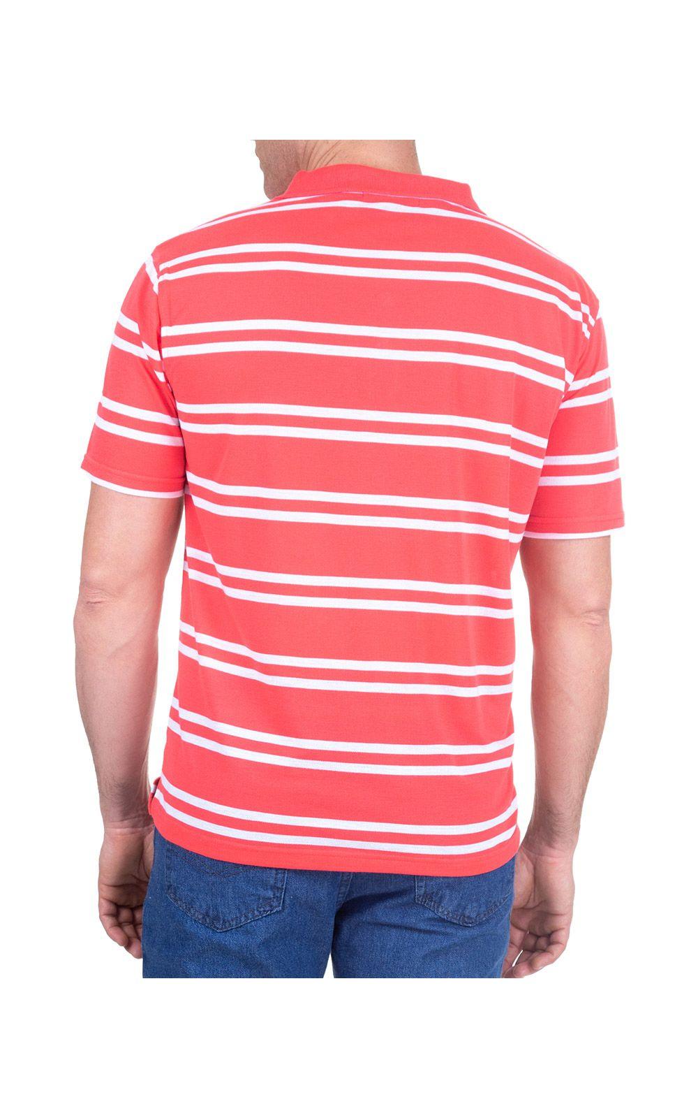 Foto 2 - Camisa Polo Masculina Vermelha Listrada