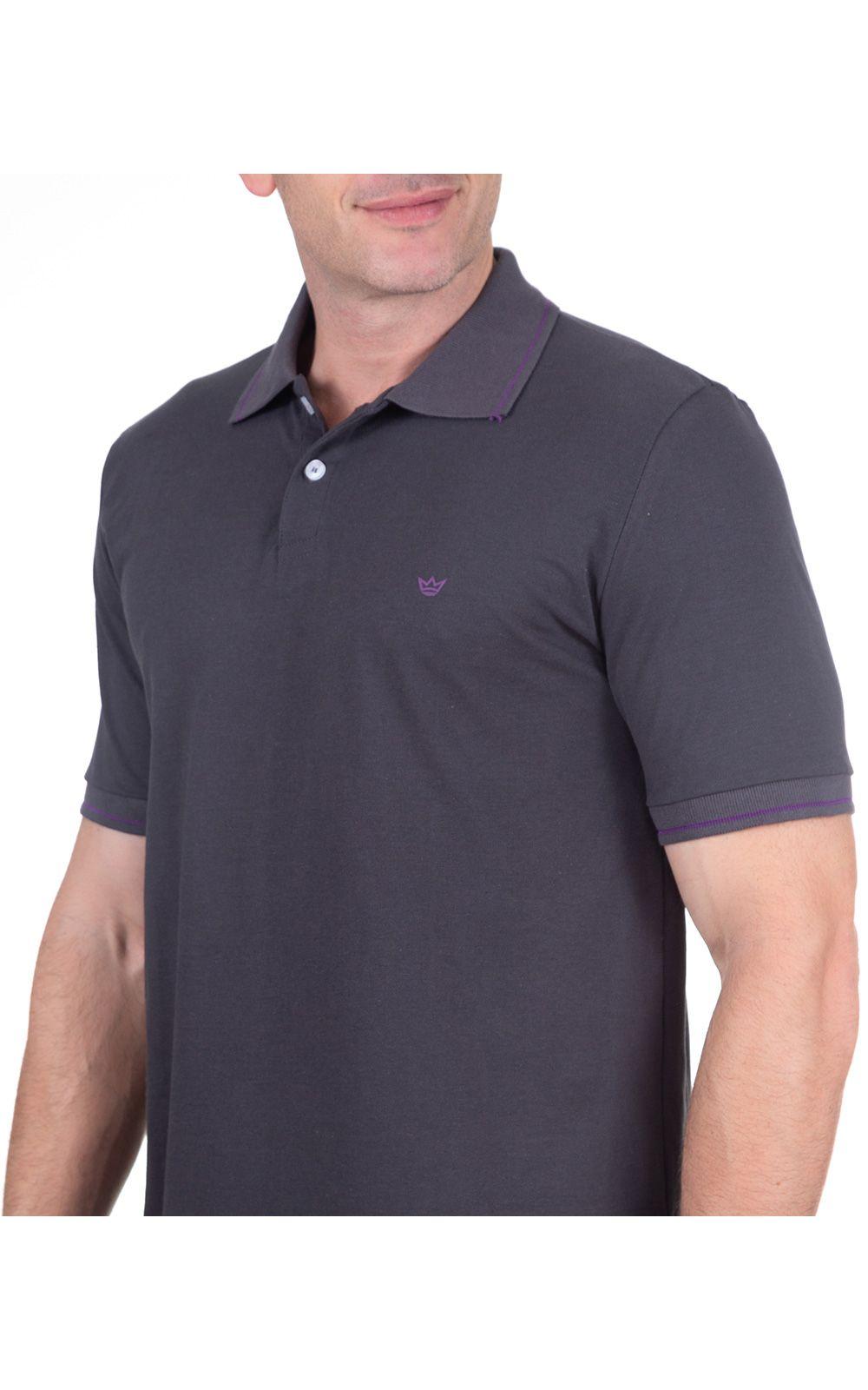 Foto 3 - Camisa Polo Masculina Cinza Escuro Lisa
