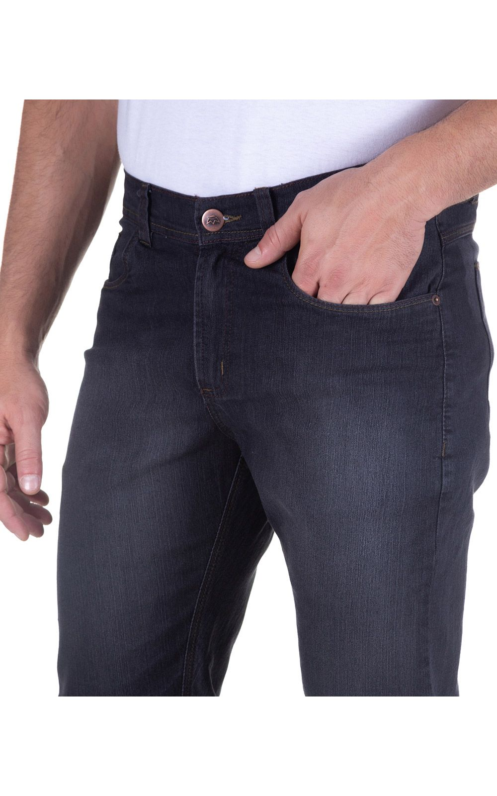 Foto 3 - Calça Jeans Masculina Preta Lisa