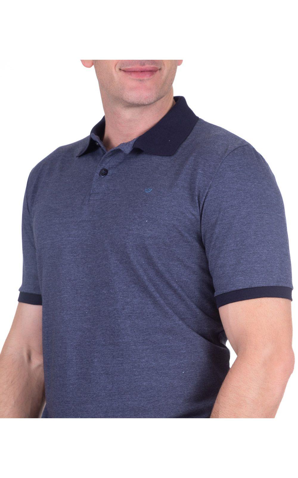 Foto 3 - Camisa Polo Masculina Azul Lisa