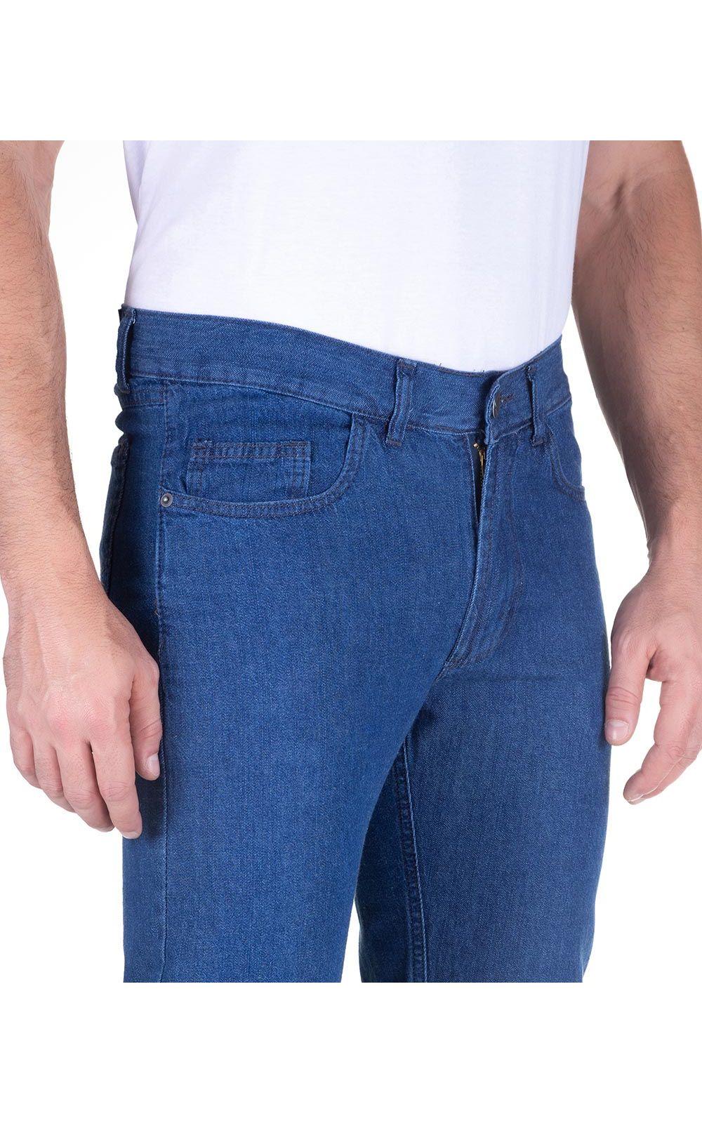 Foto 3 - Calça Jeans Masculina Azul Claro Lisa